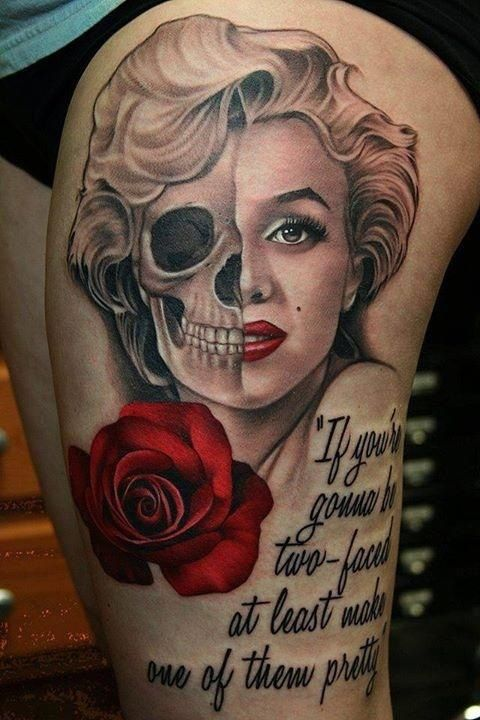 Nice Red Roses With Nice Marilyn Monroe Skull Tattoo design