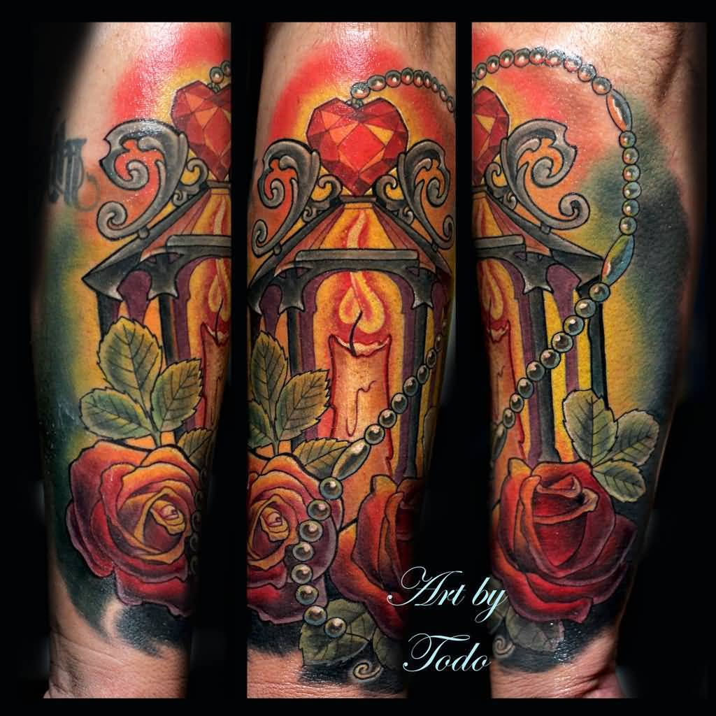 Nice Red rose Flower Old Lantern Tattoo