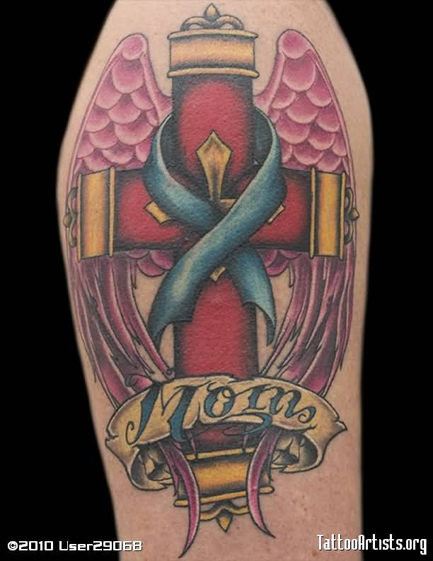 Nice Ribbon Cross Angel Wings Mom Banner Tattoo
