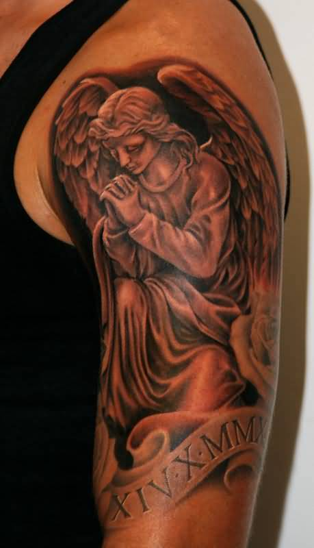 Nice Roman Numbers With Half Sleeve Nice Praying Angel Tattoo On Shouler