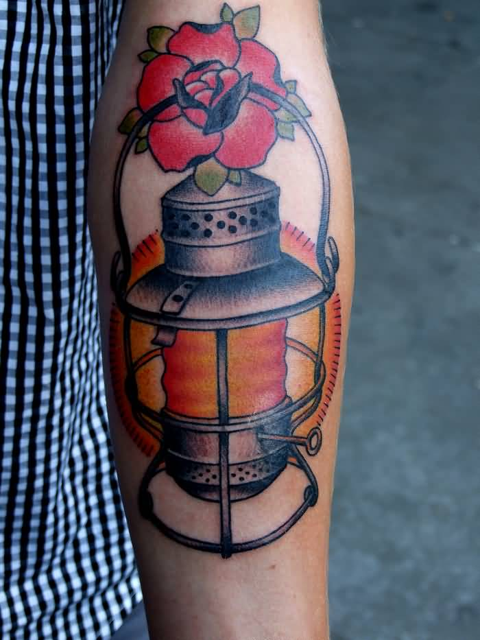 Nice Rose Amazing Lantern Tattoo