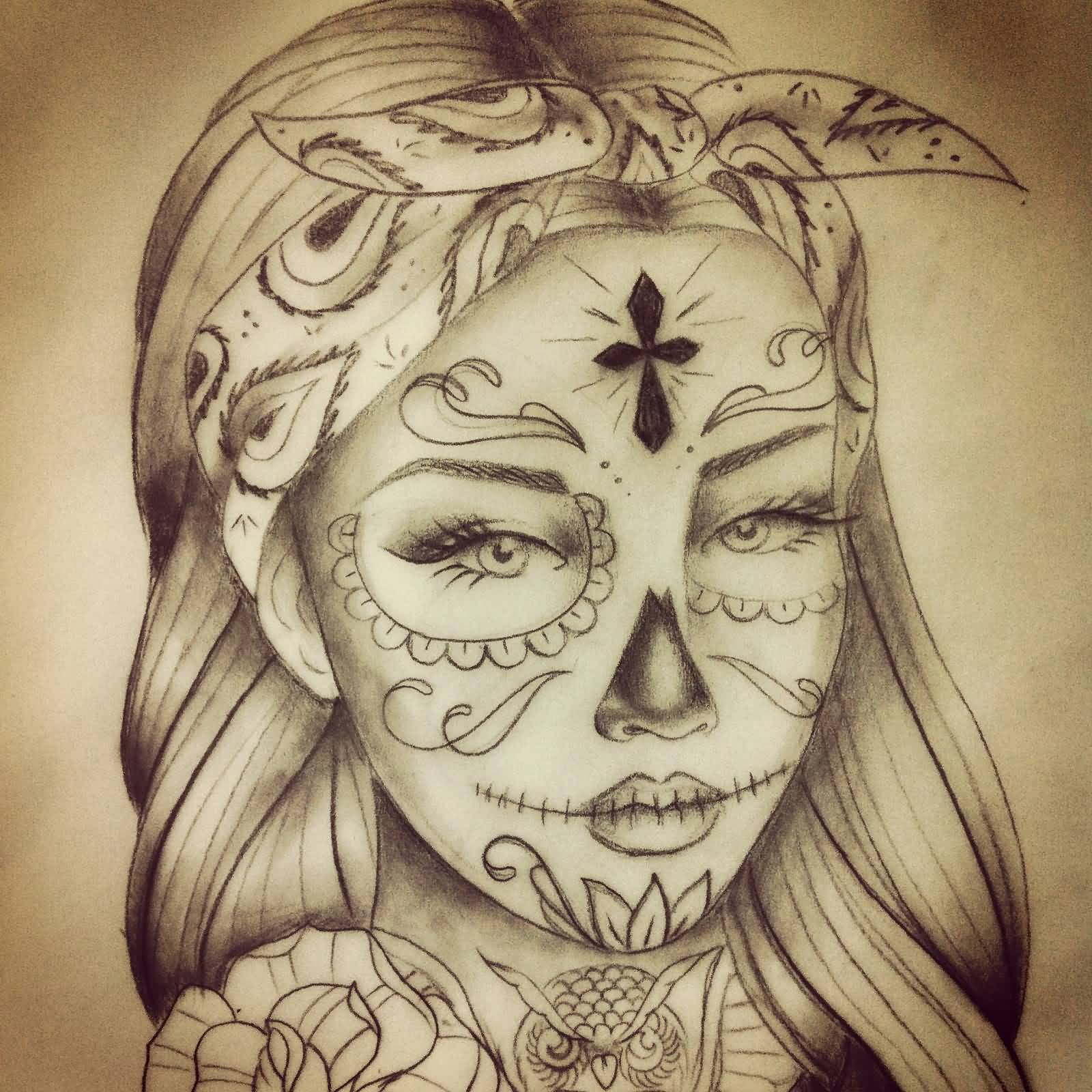 Nice Rose And Simple Catrina Flower Tattoo Stencil