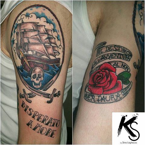 Nice Rose Banner Wonderful Jolly Roger Pirate Ship Tattoo