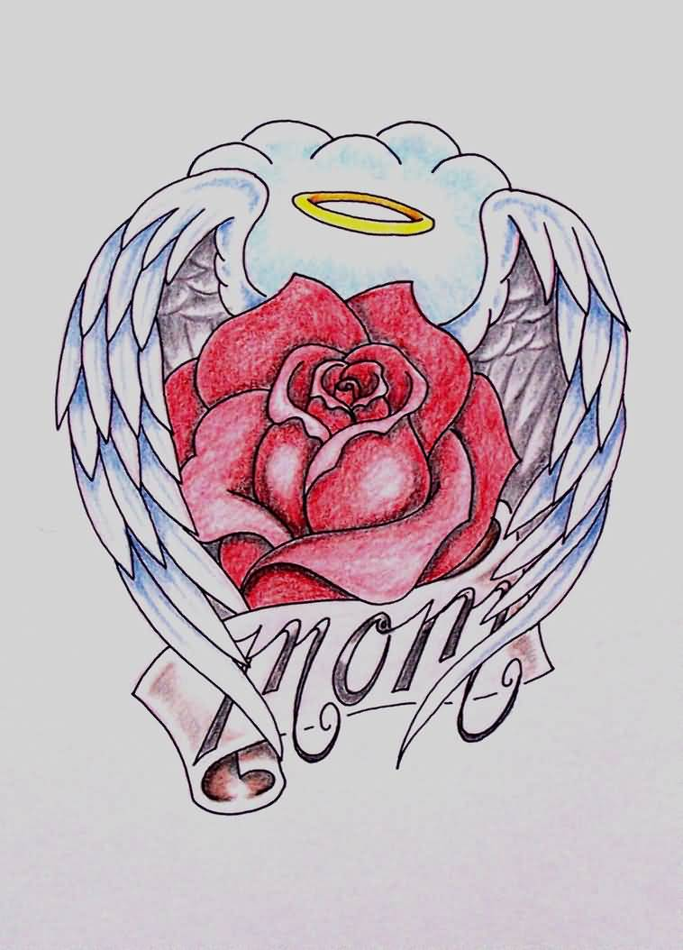 Nice Rose Flower Amazing Angel Wings Mom Banner Tattoo