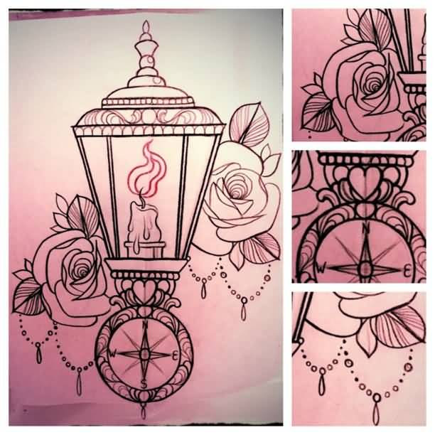 Nice Rose Flower Amazing Victorian Lantern Tattoo