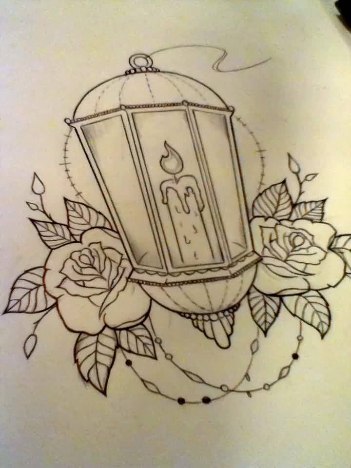 Nice Rose Flower Candle Antique Lantern Tattoo