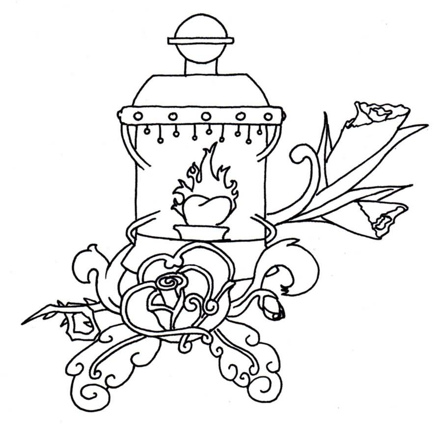 Nice Rose Flower Lantern Tattoo Design Idea