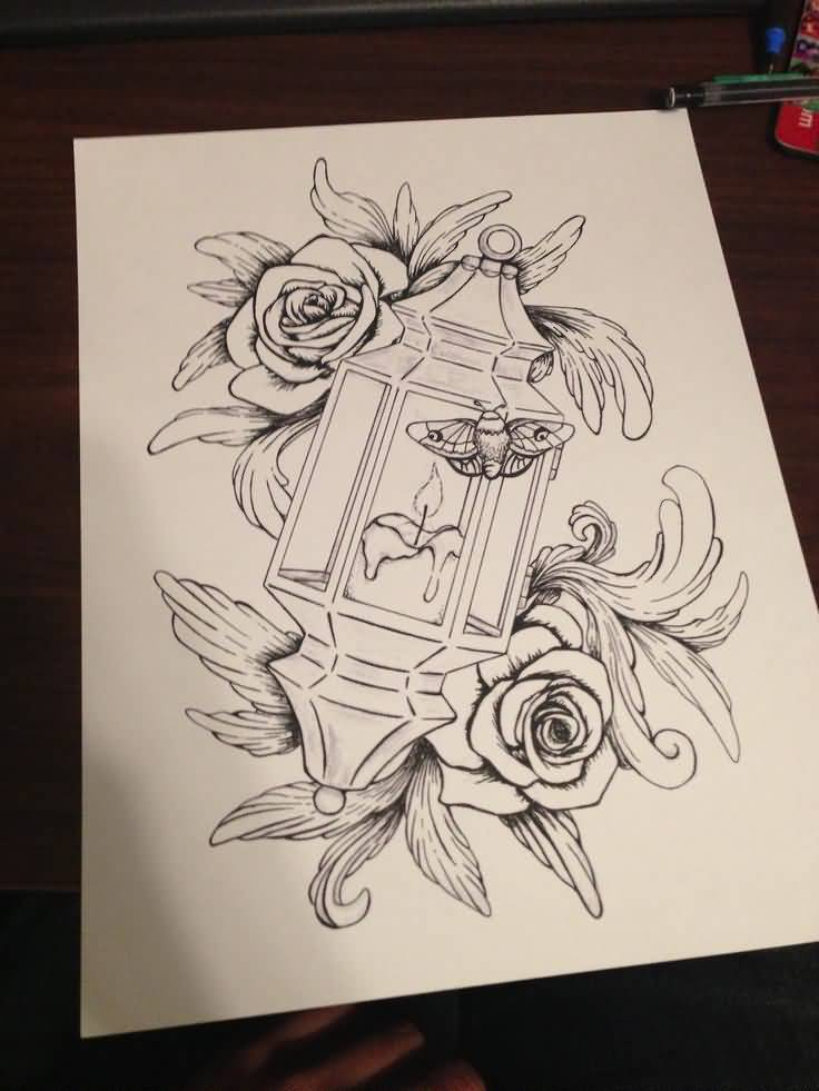 Nice Rose Flower Lantern Tattoo Stencil