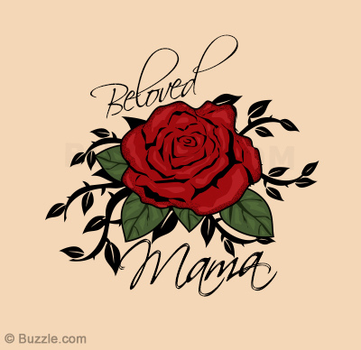 Nice Rose Flower Love Heart Mom Tattoo