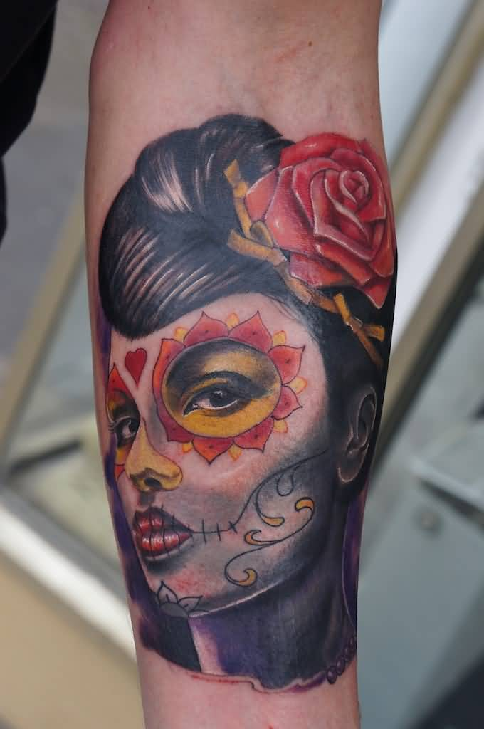 Nice Rose Flower On Catrina Girl Hair Tattoo On Forearm