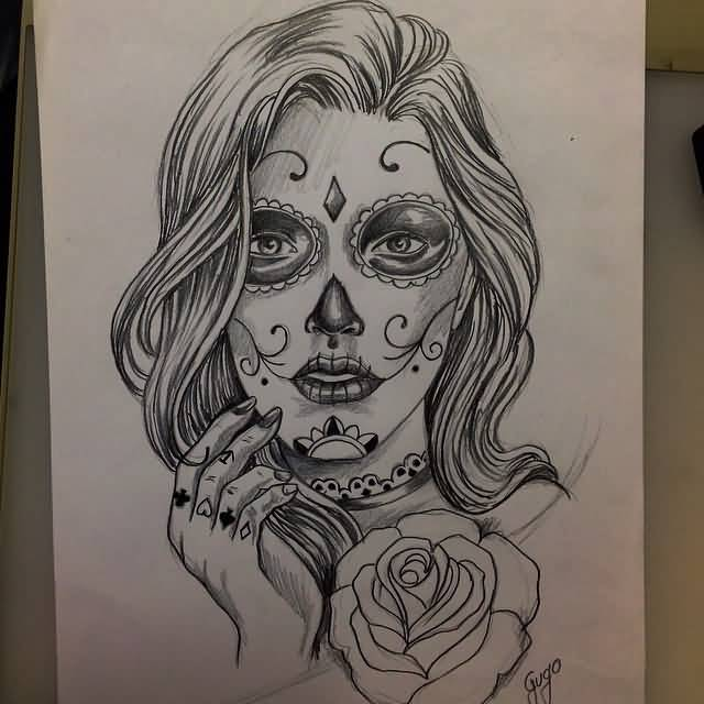 Nice Rose Flower With Nice Catrina Girl Face Tattoo