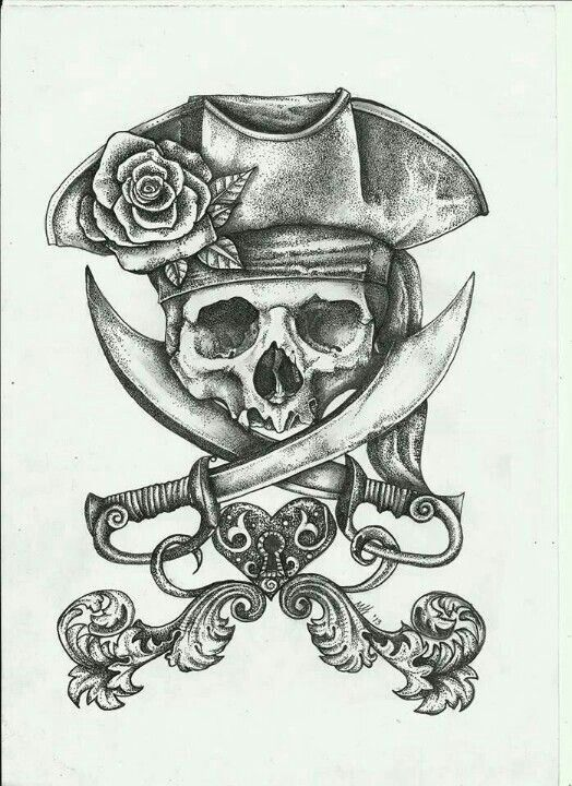 Nice Rose Old Jolly Roger Tattoo Idea