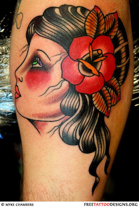 Nice Rose On Old Old School Girl Hair Tattoo