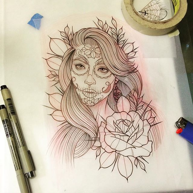 Nice Rose With Amazing Catrina Girl Tattoo