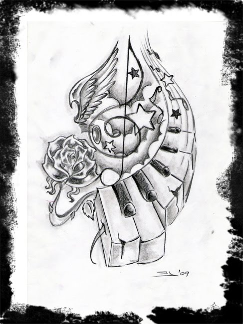 Nice Rose With Music Notes Piano Keys Tattoo Stencil