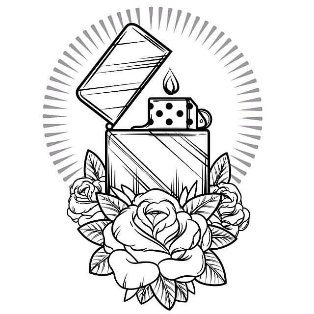 Nice Rose With Nice Dice Candle Tattoo Design Stencil