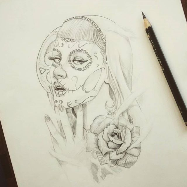 Nice Rose With Pencil Work Girl Face Catrina Tattoo