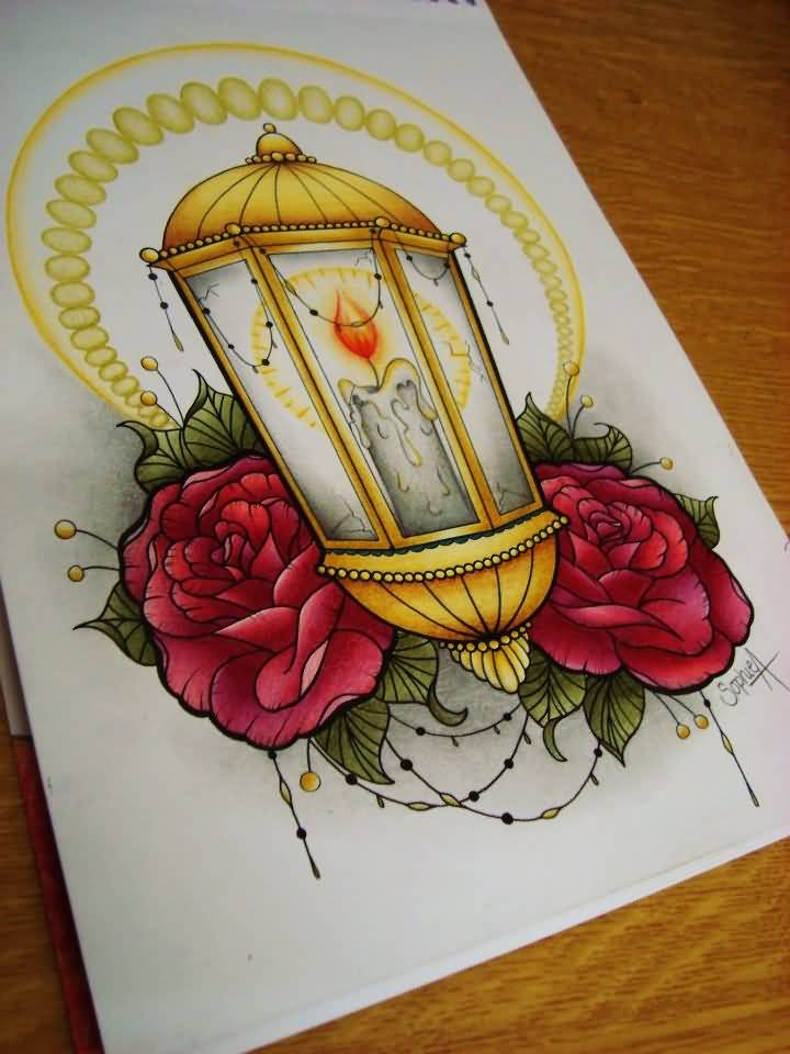 Nice Roses Amazing Lantern Tattoo Design Sketch