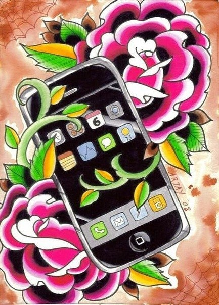 Nice Roses Apple Iphone Mobile Tattoo Drawing Stencil