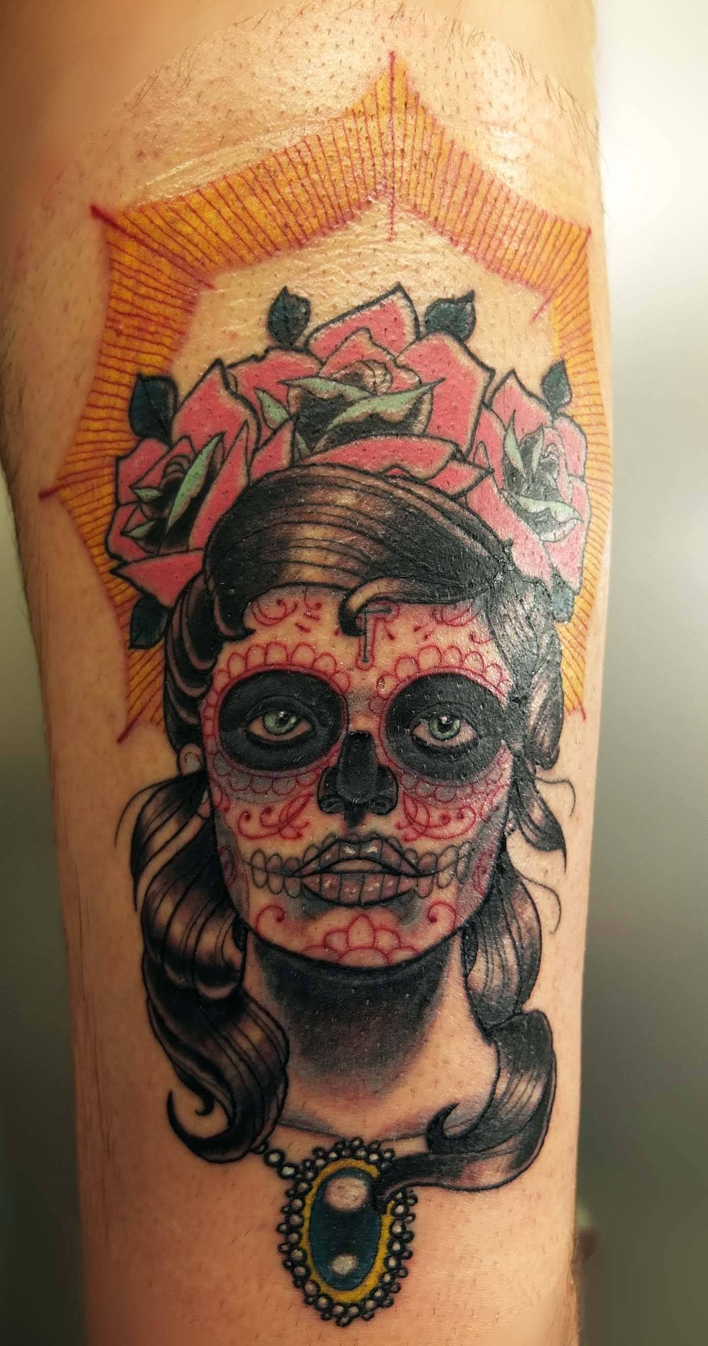 Nice Roses Catrina Girl Face Tattoo Design Idea