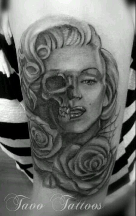 Nice Roses Flower Marilyn Monroe Face with Skull Tattoo On Half Sleeve