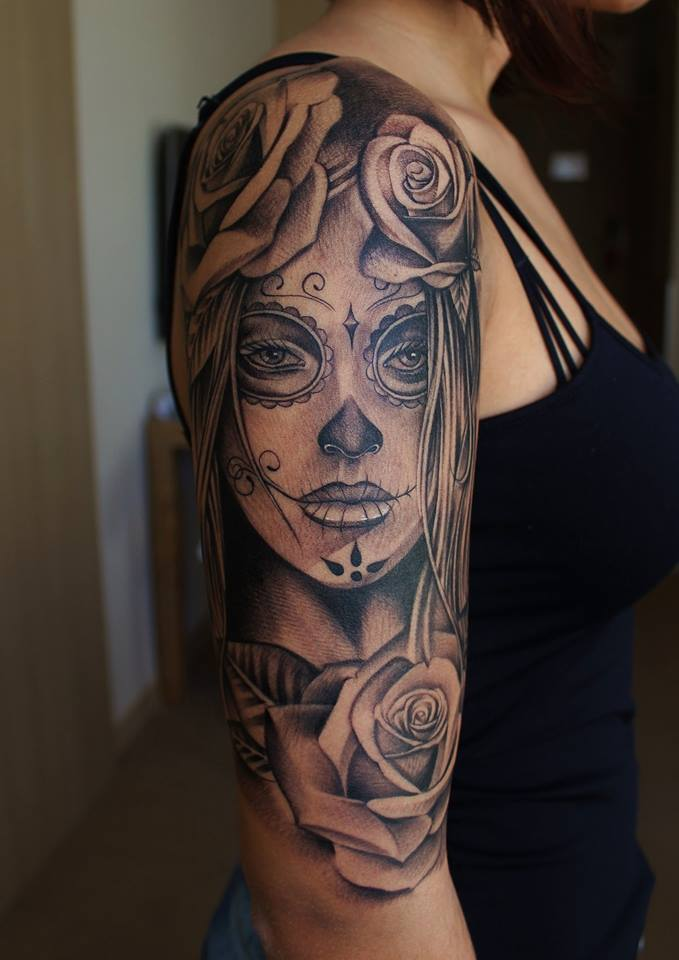 Nice Roses With Amazing Catrina Face Tattoo For Half Sleeve