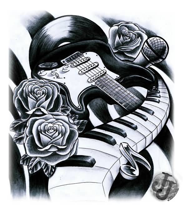 Nice Roses With Piano Keys Guitar Stencil Tattoo