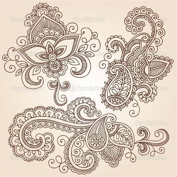 Nice Sample Of Paisley Pattern Tattoo Design