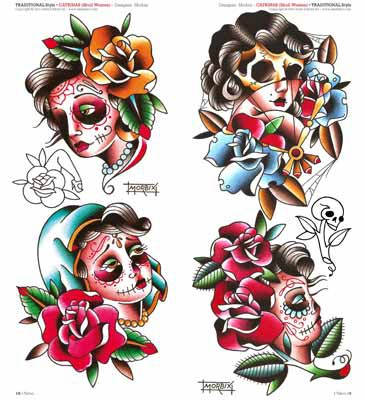 Nice Samples Of Catrina Girl Faces And Roses Tattoo