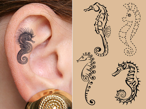 Nice Samples With Girl Ear Seahorse Tattoo
