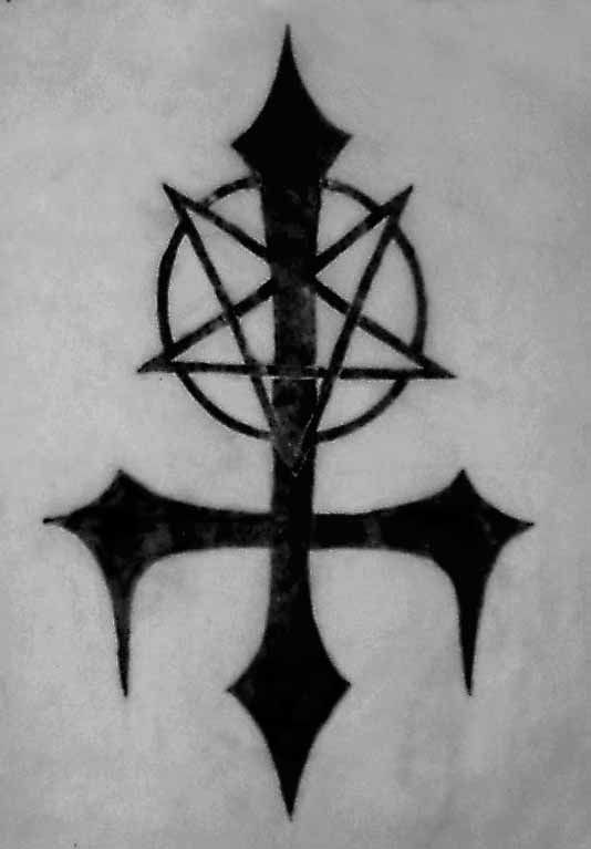 Nice Satan Cross Symbol Black Ink Tattoo Stencil