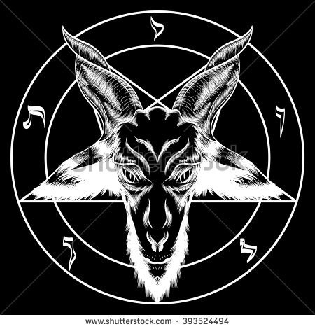 Nice Satan Head Circle Style Symbol Tattoo Stencil