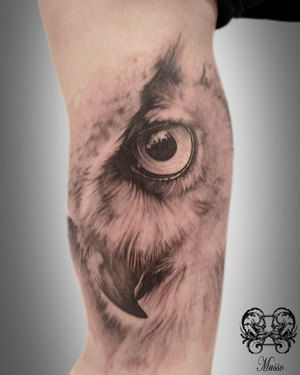 Nice Scarification Owl Tattoo Idea