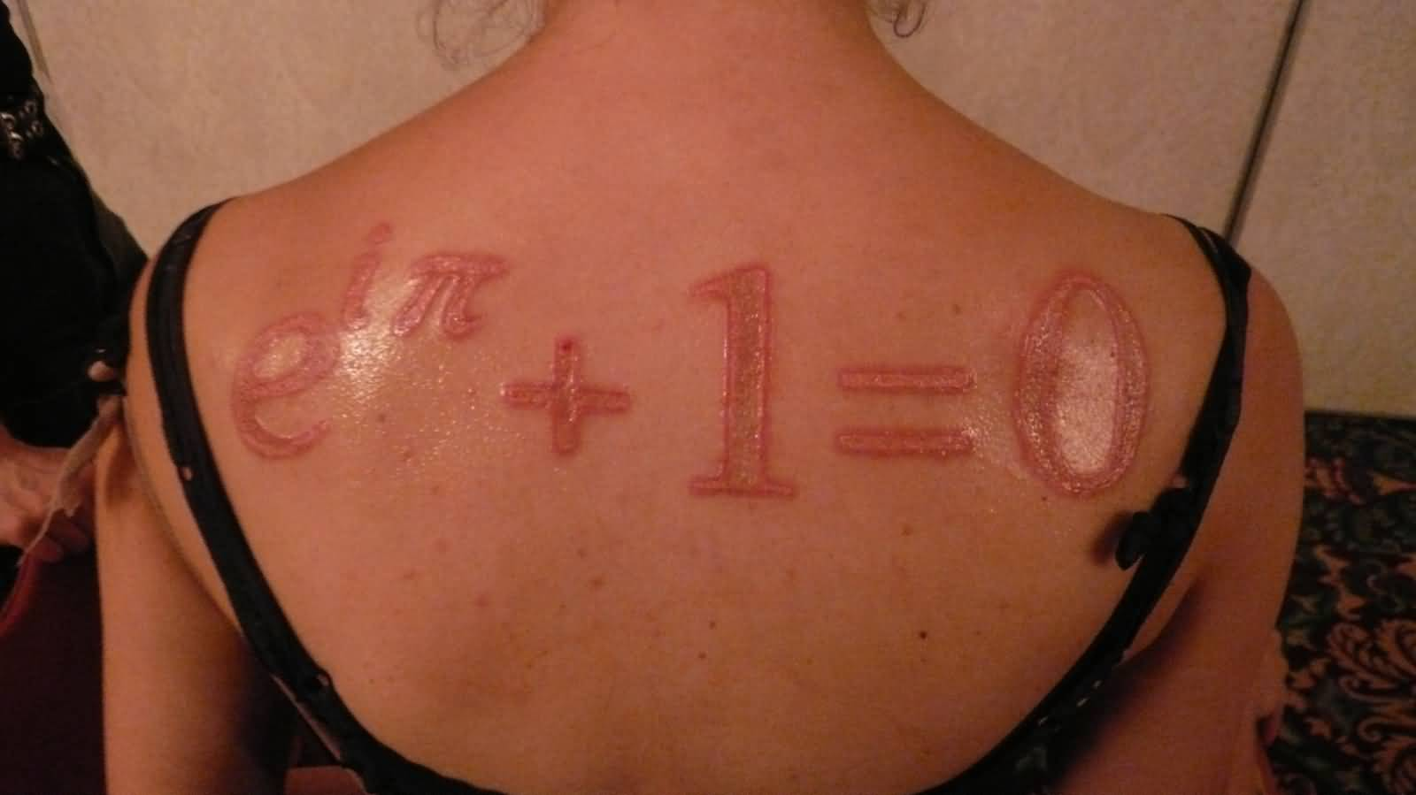 Nice Science Equation Scarification Tattoo On Upper Back