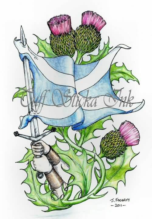 Nice Scottish Theme Tattoo Design