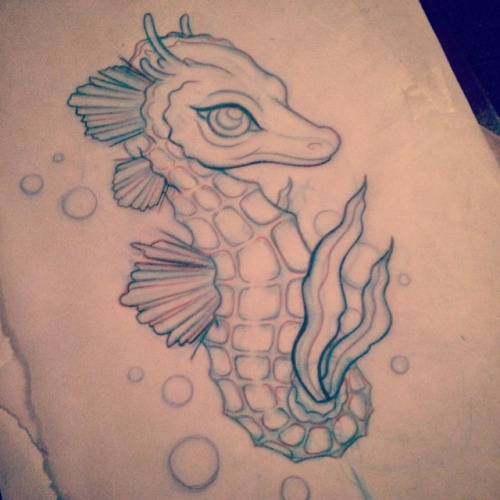 Nice Sea Creature Seahorse Tattoo With Bubbles