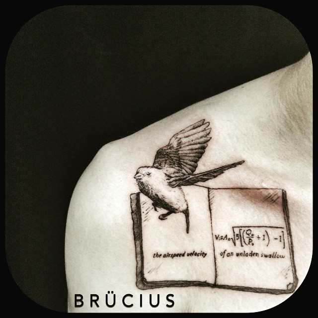Nice Sicence Bird With Formula Book Tattoo On Collarbone