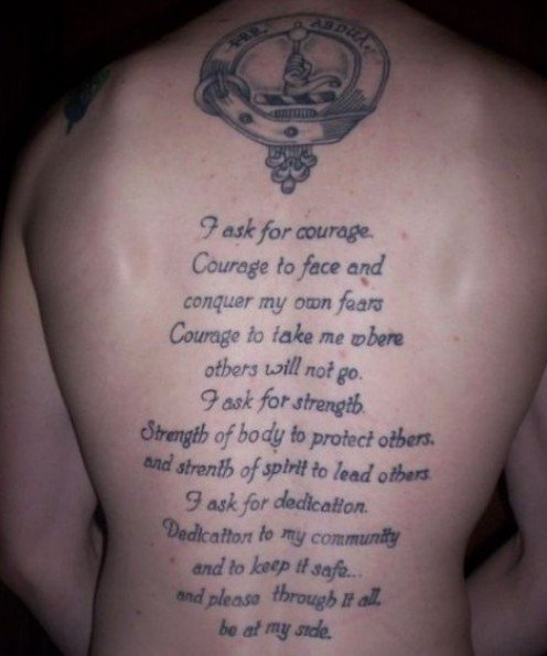 Nice Simple Poem Tattoo By Grey Ink Make On Full Back