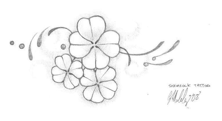 Nice Simple Stencil Of Shamrock Tattoo Design Idea On Paper