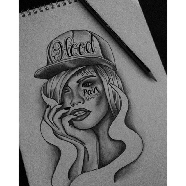 Nice Sketch Of Gangsta Girl Face Tattoo