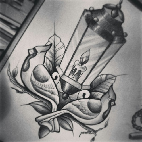 Nice Sketch Of Lantern Tattoo Design With Candle
