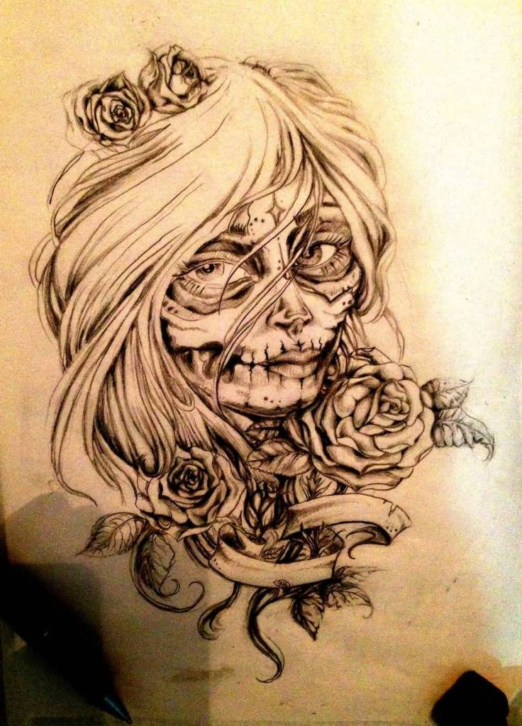 Nice Skull Catrina Tattoo Of Girl Face