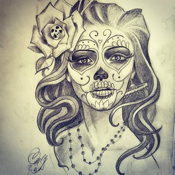 Nice Skull In Flower With Nice Beautiful Catrina Face Tattoo