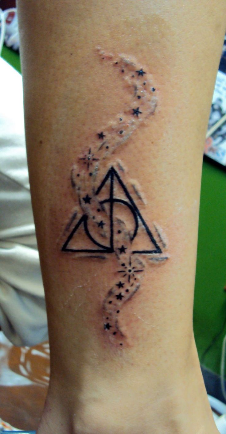 Nice Stars Amazing Hallows Tattoo On Ankle