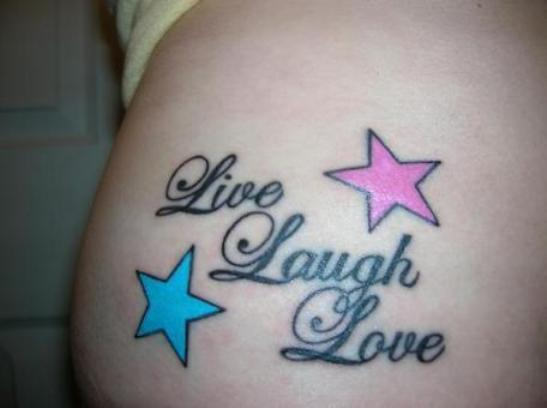 Nice Stars Amazing Live Laugh Love Tattoo On Lower Back