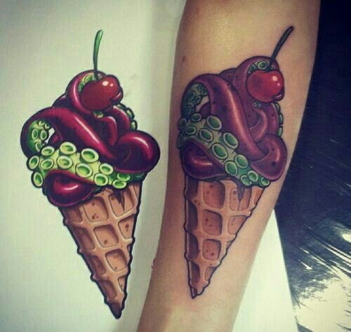 Nice Stencil ICe Cream Tattoo
