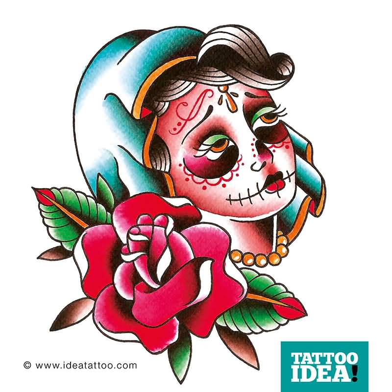 Nice Stencil Of Amazing Catrina Tattoo