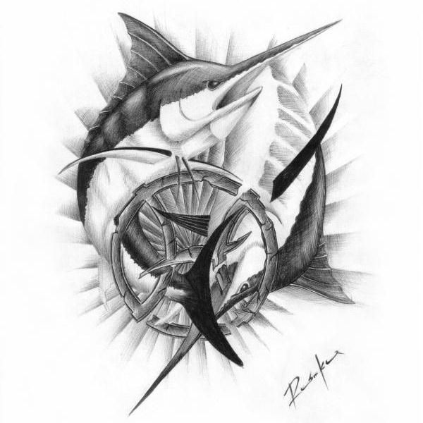 Nice Stencil Of Amazing Marlin Fishes Circle Tattoo