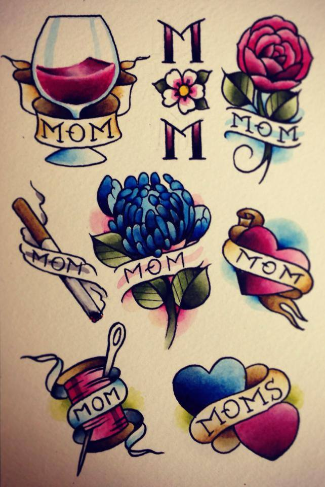 Nice Stencil Of Amazing Mom Tattoo Set