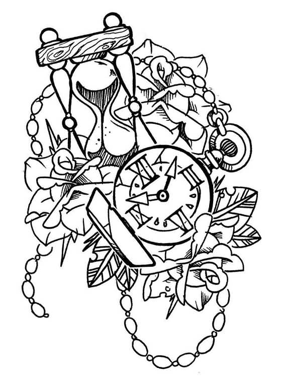 Nice Stencil Of Amazing Old School Rose And Clock Tattoo